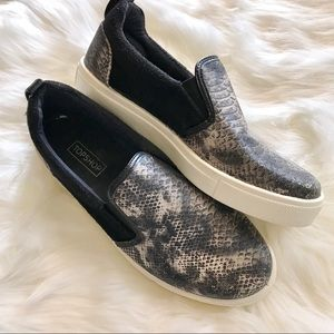 TopShop Sneakers Snake Print Slip On size 7